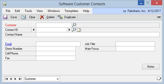 Software Template for Extender – Customer Contact Information Form