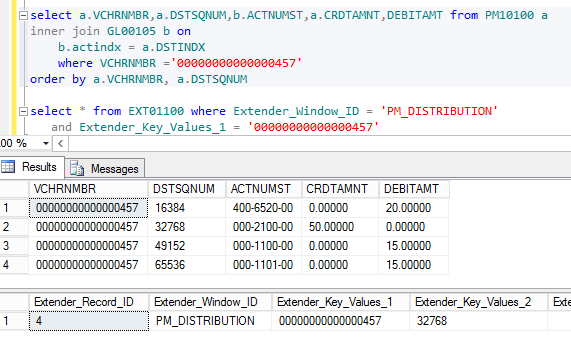 Figure 8: TSQL showing the GP & Extender data that is synchronized