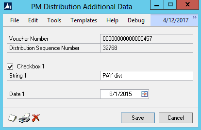 Figure 4: Extender data added to the selected line