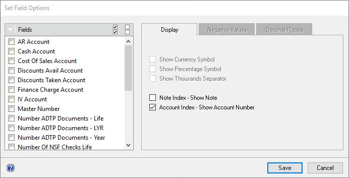 SmartList Builder > Field Options > Displaying Numbers As
