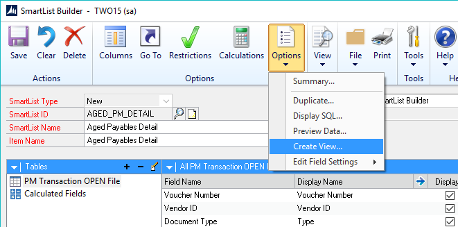 Create View Selection