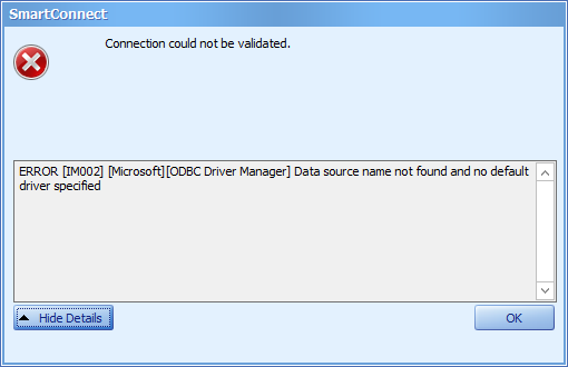 Troubleshooting ODBC Data Source Errors in SmartConnect