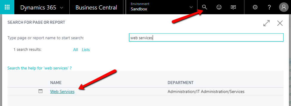 Enabling web services in Microsoft Dynamics 365 Business