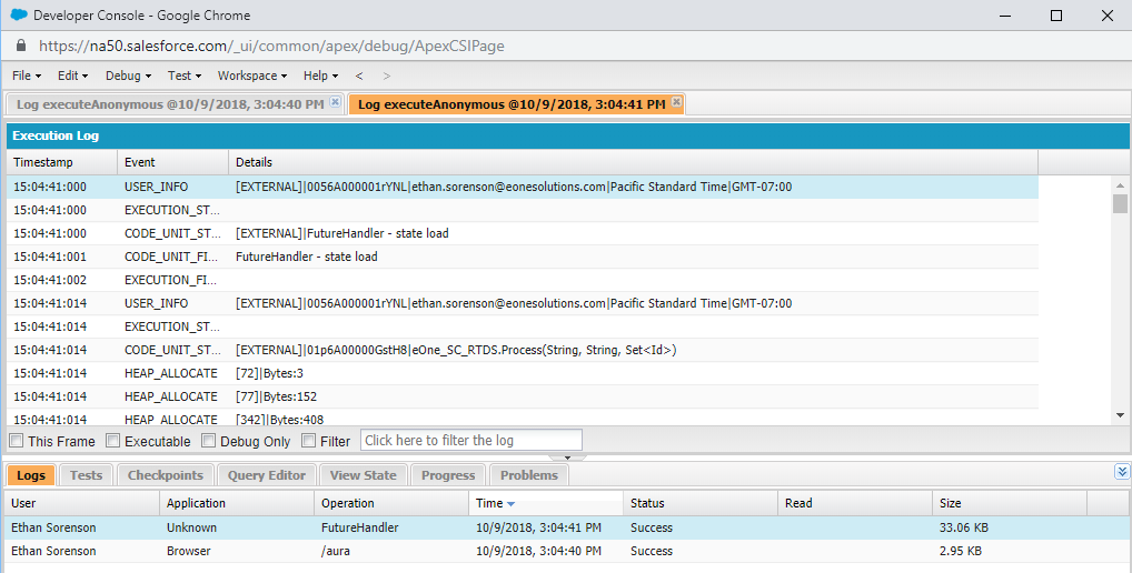 Developer Console Log of Event