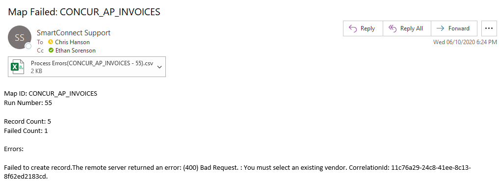 Email Received on Process Failure